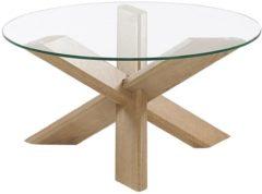 Donkerbruine Salontafel glas/lichte houtkleur VALLEY