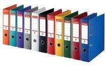 Rode Esselte ordner,Power N°1 geassorteerde kleuren: 2 x rood, groen, blauw, wit en zwart, rug van 5 cm