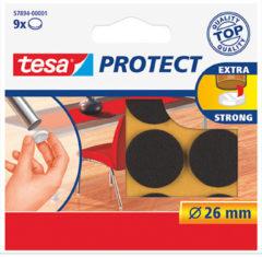 9x Tesa meubelvilt rond bruin 2,6 cm - Klusbenodigdheden - Huishouding - Vloerbescherming - Beschermvilt - Meubelvilt - Viltglijders - Anti-kras vilt