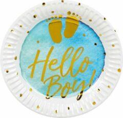 Boland Bordjes Hello Boy! Jongens 18 Cm Papier Wit/blauw 6 Stuks