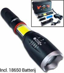 Zwarte King Mungo Militaire LED Zaklamp 1000 Lumen - 18650 Oplaadbare Batterij - Professioneel met Accu + Oplader - Fietshouder