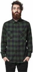 Urban Classics geruit flanellen slim fit overhemd donkergroen/donkerblauw