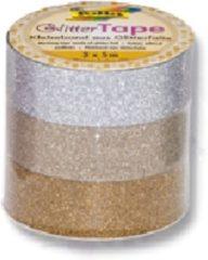 Zilveren Folia glittertape zilver en goud rolletje met 3 stuks