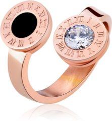 Roze Cilla Jewels Damesring Rosegoud Staal Roman Numerals-16mm