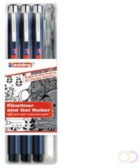 Edding precisie fineliner set - 3 zwarte fineliners en 1 zilver gelroller - Handletteringset - 0.25, 0.5 en 0.7 mm punt