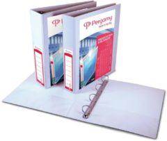 Pergamy personaliseerbare ringmap, ft A4, 4 D-ringen van 25 mm, wit