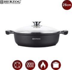Zwarte Herzog: Gegoten Braadpan met Siliconen Handgrepen - ⌀ 28cm - Pan met Deksel - Braadpan Gietijzer - Bakpan - Geschikt Voor Alle Warmte Bronnen - PFOA / LOOD-vrij