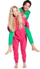 Bellatio Warme onesie jumpsuit voor kinderen 9-11 jaar Groen
