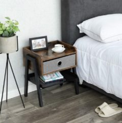 MIRA home MIRA Nachtkastje - Bijzettafel - Industrieel - Vintage - 46Lx35Bx52,5H - Bruin/zwart/grijs