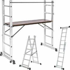 Grijze Tectake 401668 Multifunctionele ladder - Steiger stelling - Werkhoogte 1m