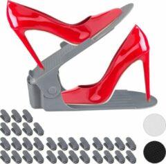 Donkergrijze Relaxdays 32 x schoenen organizer - verstelbaar - schoenen opbergsysteem – opberger grijs