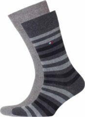 Tommy hilfiger herensokken 2 pack duo stripe sock zwart grijs gestreept maat