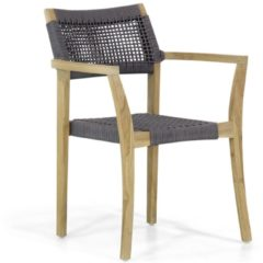 Antraciet-grijze Lifestyle Garden Furniture Lifestyle Dallas dining tuinstoel rope stapelbaar