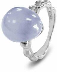 Lichtblauwe Silventi 9SIL-21139-54 Zilveren Ring - Dames - Chalcedoon - Edelsteen - Maat 54 - Gerhodineerd - Zilver