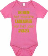 Merkloos / Sans marque Baby rompertje met leuke tekst | Ik ben het mooiste cadeautje van het jaar 2021 |zwangerschap aankondiging | cadeau papa mama opa oma oom tante | kraamcadeau | maat 80 roze goud