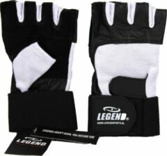 Legend Sports Fitness Handschoen Leder Zwart/wit Legend Maat M