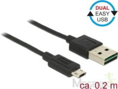 Zwarte DeLOCK 84804 0.2m USB A Micro-USB B Mannelijk Mannelijk Zwart USB-kabel