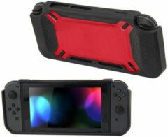 Merkloos / Sans marque Hard Case Cover voor Nintendo Switch Beschermhoes - Rubber Touch Zwart -Rood