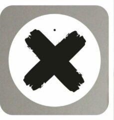 Muurcirkel - X Kruis -20 cm- roundie wit industrieel Zwart met tekst / quote / symbool -- Liefss muurcirkel van dibond / aluminium