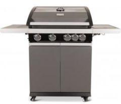 """Patton Patio Pro Chef 4+ -burner - Gasbarbecue - 4 branders - incl. zijbrander - incl. glazen vensterkap - """"Frozen Grey"""" - Mat grijs"""