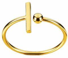 Juulry Goud Plated Ring met Staaf en Balletje