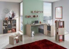 Büromöbel Set Eiche Nachbildung mit Schreibtisch und Regalen FMD Exl/ Mike/ Tower/ Mega/ Point