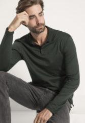 Hessnatur Herren Langarm Poloshirt aus Bio-Baumwolle – grün – Größe 56