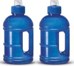 Transparante Merkloos / Sans marque 2x Blauwe kunststof bidon/drinkfles/waterflessen 1250 ml - Sport bidon waterflessen - Push-pull dop