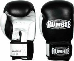 Rumble Ready 2.0 Leer (kick)bokshandschoen Zwart-Wit 10 Oz