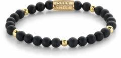 Rebel & Rose Rebel and Rose RR-60078-G Rekarmband Beads Matt Black Madonna goudkleurig-zwart 6 mm S 16,5 cm