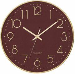 Trends by kay Wandklok stil uurwerk Paars met Gouden rand en wijzers 30CM