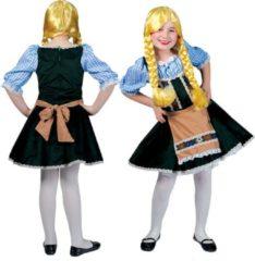 Blauwe Funny Fashion Boeren Tirol & Oktoberfest Kostuum | Salzburg Oktoberfest | Meisjes | Maat 128 | Bierfeest | Verkleedkleding