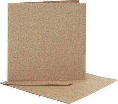 Witte Creotime Kaarten en enveloppen, afmeting kaart 12,5x12,5 cm, afmeting envelop 13,5x13,5 cm, naturel, 10sets