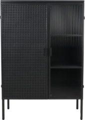 Donkergrijze HSM Collection Vitrinekast - 80x34x117 cm - Zwart - Metaal/glas