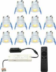 Grijze HOFTRONIC™ Complete LED inbouwspots set 10x3W 12V Mini 28 mm dimbare Milano IP65 spatwaterdicht voor Veranda, Badkamer, Tuinhuis en Woonkamer