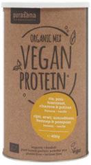 Vegan Protein Mix: Pea/rice/pumpk/sunf/hemp/banana/vanille (400 Gram) - Purasana