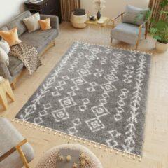 Tapiso Boho Vloerkleed Woonkamer Slaapkamer Donkergrijs Lijnen Hoogpolig Design Modern Sfeervol Praktisch Hoogwaardig Duurzaam Tapijt Maat - 140 x 200 cm