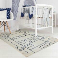 Blauwe Sens Kids Rugs Huisjes kindervloerkleed - kindertapijt - 100 x 140 cm - wasbaar - zacht - duurzame kwaliteit - speelgoed