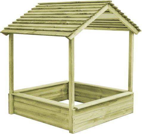 Afbeelding van Bruine VidaXL Buitenspeelhuis met zandbak 128x120x145 cm FSC grenenhout