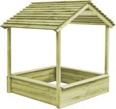 Bruine VidaXL Buitenspeelhuis met zandbak 128x120x145 cm FSC grenenhout