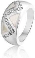 Zilveren Montebello Ring Els - Dames - Zilver Gerhodineerd - Zirkonia - Parelmoer - Maat 58 - 18.5