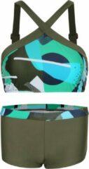 La V Bikini hipster broekje en crop top met brede bandje Kunst olijfgroen 128-134