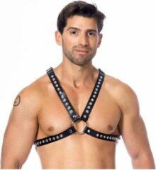 Rimba Borst harnas met leren riemen versierd met siernieten - zwart