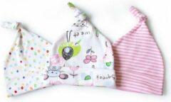 Lichtblauwe JillyBee - Newborn - Mutsje - Mutsjes - 3pack - Stipjes - Vogeltje - Muisje - Gestreept - Multicolor