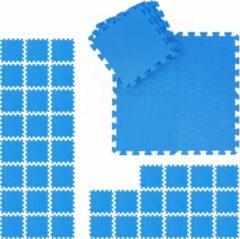 Blauwe Relaxdays 48 x fitness matten - schuimstof - beschermmat - sportmat - puzzelmat - vloermat