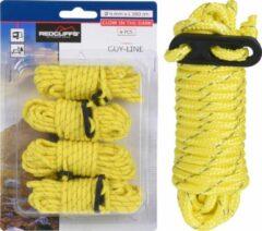 Redcliffs 4x Gele scheerlijnen / touwen - Met gatspanners - glow in the dark - 4 mm x 4 meter - Tent scheerlijn - Tuin/camping benodigheden