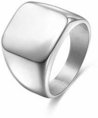 TrendFox Zegelring Heren Zilver kleurig   18 - 22mm   Ringen Mannen   Ring Heren   Ring Mannen   Cadeau voor Man   Mannen Cadeautjes   Sinterklaas Cadeau   Sinterklaas Cadeautjes