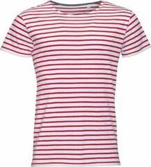 SOLS Heren Miles Gestreept T-Shirt met korte mouwen (Wit/rood)