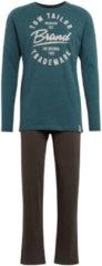 TOM TAILOR Herren Pyjama mit Print, grün, unifarben mit Print, Gr.50/M