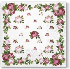 Roze Tete à Tete Elegant Roses Frame papieren servetten